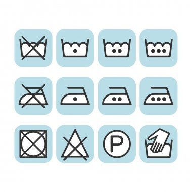 Set of instruction laundry icons, care icons, washing symbols