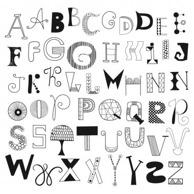 Hand drawn alphabet letters from A to Z. Set of doodle letters for design