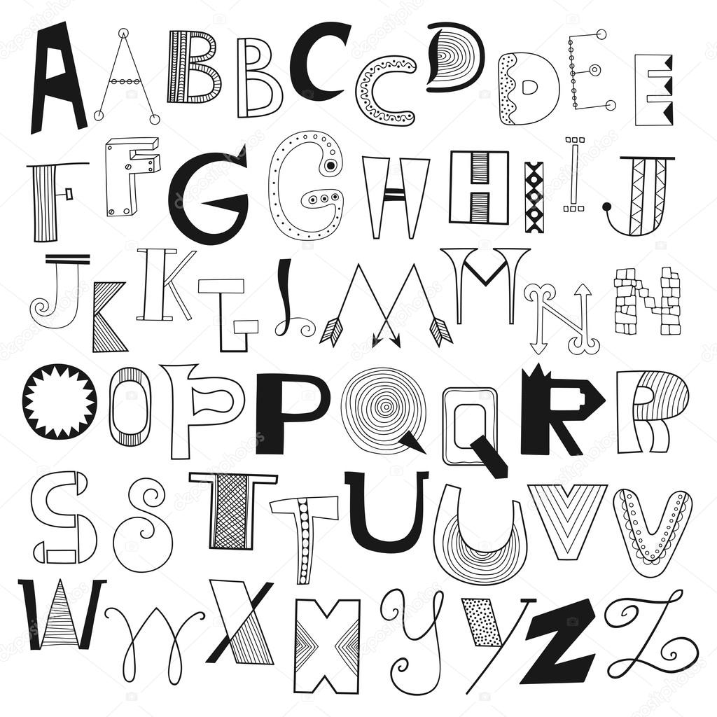 Hand Drawn Alphabet Letters From A To Z Set Of Doodle For Design