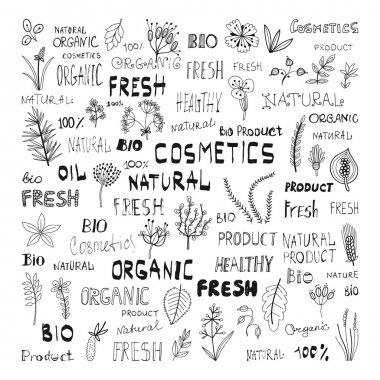 Set of doodle herbs, plants, and the lettering: natural, organic, cosmetics, fresh, bio, product