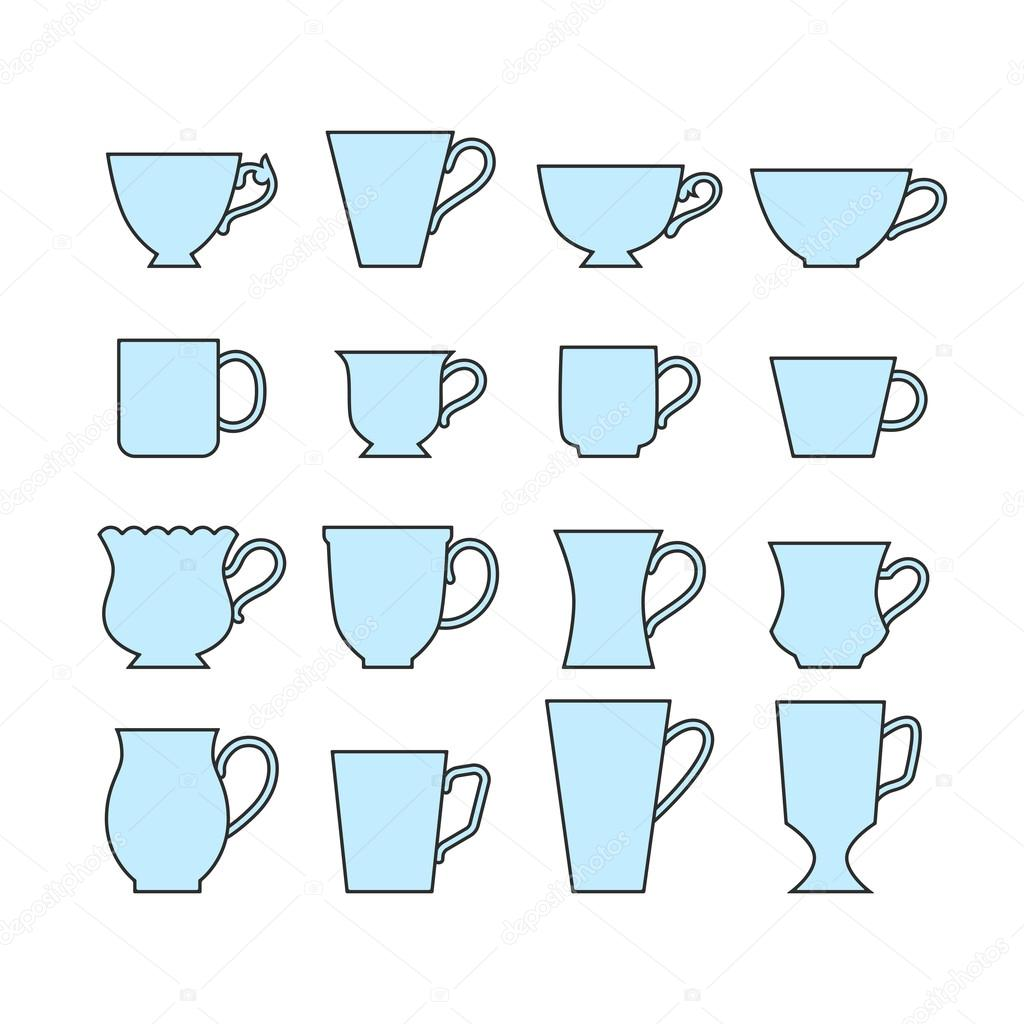 Set of mugs of different shapes mugs cups for drinks signs and set of mugs of different shapes mugs cups for drinks signs and symbols for design infographic vector by lilipom buycottarizona