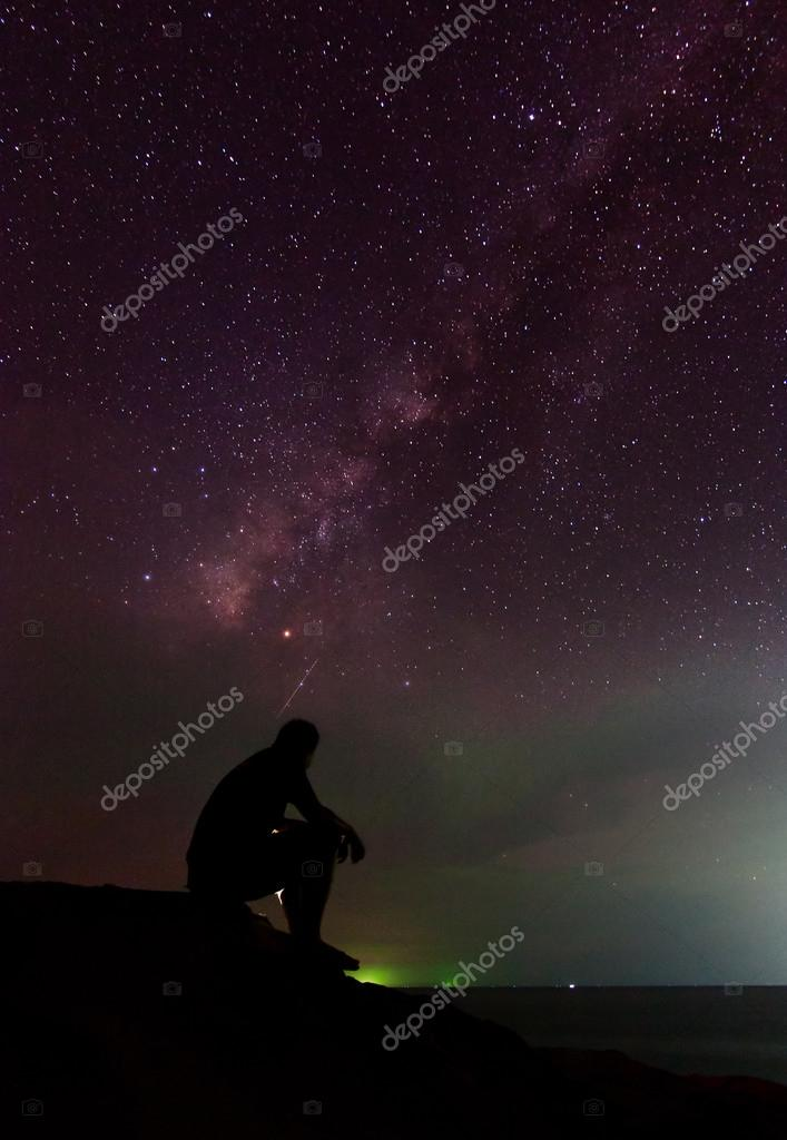 Man and the milky way at Sabah, East Malaysia, Borneo