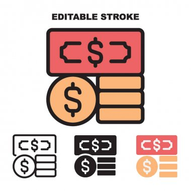 Icon set Cash with 4 different styles. Filled, outline, glyph and line colored. Editable stroke and pixel perfect. icon