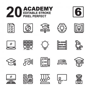 Icon Set of Academy. Outline style icon vector. Contains such of geography, hat graduation, music, exam, idea, knowledge, microscope, biology, professor, and more. Editable Stroke and Pixel perfect. icon