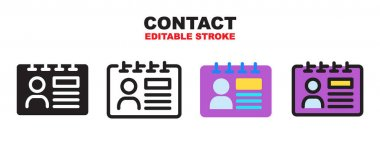 Contact icon set with different styles. Colored vector icons designed in filled, outline, flat, glyph and line colored. Editable stroke style can be used for web, mobile, ui and more. icon