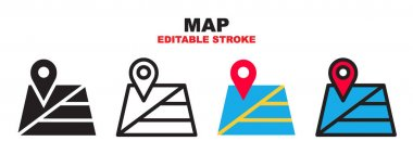 Map icon set with different styles. Colored vector icons designed in filled, outline, flat, glyph and line colored. Editable stroke style can be used for web, mobile, ui and more. icon