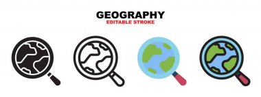 Geography icon set with different styles. Colored vector icons designed in filled, outline, flat, glyph and line colored. Editable stroke and pixel perfect. Can be used for web, mobile, ui and more. icon