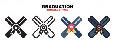 Graduation icon set with different styles. Colored vector icons designed in filled, outline, flat, glyph and line colored. Editable stroke and pixel perfect. Can be used for web, mobile, ui and more. icon