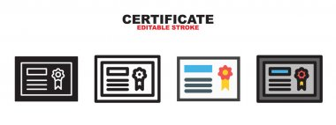 Certificate icon set with different styles. Colored vector icons designed in filled, outline, flat, glyph and line colored. Editable stroke and pixel perfect. Can be used for web, mobile, ui and more. icon