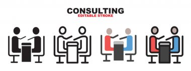 Consulting icon set with different styles. Colored vector icons designed in filled, outline, flat, glyph and line colored. Editable stroke and pixel perfect. Can be used for web, mobile, ui and more. icon