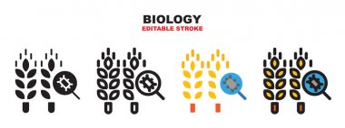 Biology icon set with different styles. Colored vector icons designed in filled, outline, flat, glyph and line colored. Editable stroke and pixel perfect. Can be used for web, mobile, ui and more. icon