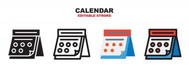 Calendar icon set with different styles. Colored vector icons designed in filled, outline, flat, glyph and line colored. Editable stroke and pixel perfect. Can be used for web, mobile, ui and more. icon