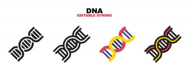 DNA icon set with different styles. Colored vector icons designed in filled, outline, flat, glyph and line colored. Editable stroke and pixel perfect. Can be used for web, mobile, ui and more. icon