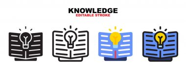 Knowledge icon set with different styles. Colored vector icons designed in filled, outline, flat, glyph and line colored. Editable stroke and pixel perfect. Can be used for web, mobile, ui and more. icon