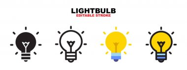 Lightbulb icon set with different styles. Colored vector icons designed in filled, outline, flat, glyph and line colored. Editable stroke and pixel perfect. Can be used for web, mobile, ui and more. icon