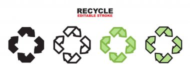 Recycle icon set with different styles. Colored vector icons designed in filled, outline, flat, glyph and line colored. Editable stroke and pixel perfect. Can be used for web, mobile, ui and more. icon