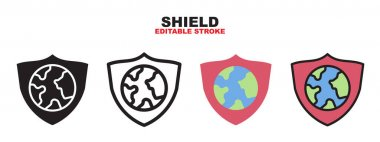 Shield icon set with different styles. Colored vector icons designed in filled, outline, flat, glyph and line colored. Editable stroke and pixel perfect. Can be used for web, mobile, ui and more. icon