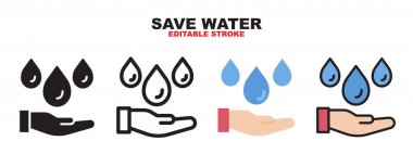 Save Water icon set with different styles. Colored vector icons designed in filled, outline, flat, glyph and line colored. Editable stroke and pixel perfect. Can be used for web, mobile, ui and more. icon