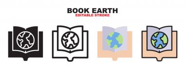 Book Earth icon set with different styles. Colored vector icons designed in filled, outline, flat, glyph and line colored. Editable stroke and pixel perfect. Can be used for web, mobile, ui and more. icon