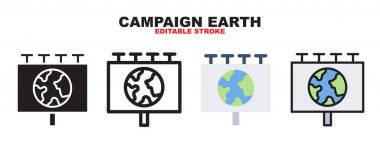 Campaign Earth icon set with different styles. Colored vector icons designed in filled, outline, flat, glyph and line. Editable stroke and pixel perfect. Can be used for web, mobile, ui and more. icon