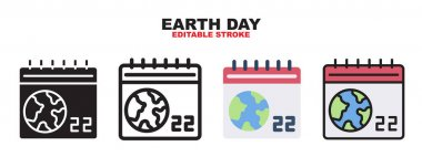 Earth Day icon set with different styles. Colored vector icons designed in filled, outline, flat, glyph and line colored. Editable stroke and pixel perfect. Can be used for web, mobile, ui and more. icon