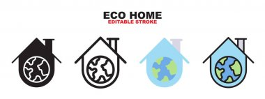 Eco home icon set with different styles. Colored vector icons designed in filled, outline, flat, glyph and line colored. Editable stroke and pixel perfect. Can be used for web, mobile, ui and more. icon