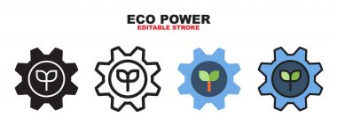 Eco Power icon set with different styles. Colored vector icons designed in filled, outline, flat, glyph and line colored. Editable stroke and pixel perfect. Can be used for web, mobile, ui and more. icon