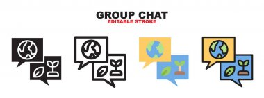 Group Chat icon set with different styles. Colored vector icons designed in filled, outline, flat, glyph and line colored. Editable stroke and pixel perfect. Can be used for web, mobile, ui and more. icon