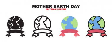Mother Earth Day icon set with different styles. Colored vector icons designed in filled, outline, flat, glyph and line colored. Editable stroke and pixel perfect. Can be used for web, mobile, ui and more. icon