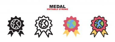 Medal icon set with different styles. Colored vector icons designed in filled, outline, flat, glyph and line colored. Editable stroke and pixel perfect. Can be used for web, mobile, ui and more. icon