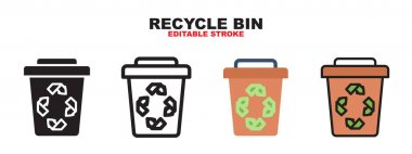 Recycle Bin icon set with different styles. Colored vector icons designed in filled, outline, flat, glyph and line colored. Editable stroke and pixel perfect. Can be used for web, mobile, ui and more. icon