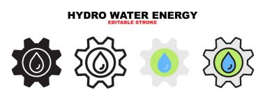 Hydro water energy icon set with different styles. Icons designed in filled, outline, flat, glyph and line colored. Editable stroke and pixel perfect. Can be used for web, mobile, ui and more. icon