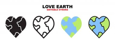Love Earth icon set with different styles. Icons designed in filled, outline, flat, glyph and line colored. Editable stroke and pixel perfect. Can be used for web, mobile, ui and more. icon