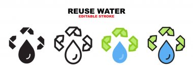 Reuse water icon set with different styles. Icons designed in filled, outline, flat, glyph and line colored. Editable stroke and pixel perfect. Can be used for web, mobile, ui and more. icon