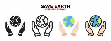 Save Earth icon set with different styles. Icons designed in filled, outline, flat, glyph and line colored. Editable stroke and pixel perfect. Can be used for web, mobile, ui and more. icon