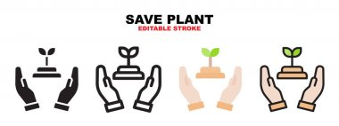 Save Plant icon set with different styles. Icons designed in filled, outline, flat, glyph and line colored. Editable stroke and pixel perfect. Can be used for web, mobile, ui and more. icon