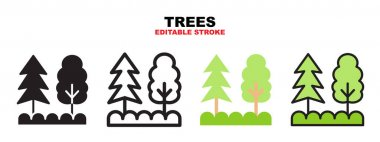 Trees icon set with different styles. Icons designed in filled, outline, flat, glyph and line colored. Editable stroke and pixel perfect. Can be used for web, mobile, ui and more. icon