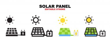 Solar Panel icon set with different styles. Icons designed in filled, outline, flat, glyph and line colored. Editable stroke and pixel perfect. Can be used for web, mobile, ui and more. icon