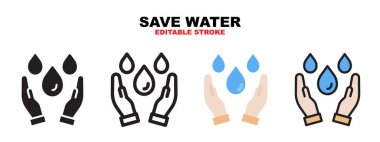 Save Water icon set with different styles. Icons designed in filled, outline, flat, glyph and line colored. Editable stroke and pixel perfect. Can be used for web, mobile, ui and more. icon