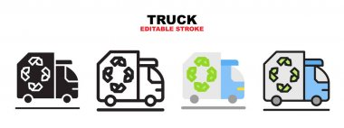Truck recycle icon set with different styles. Icons designed in filled, outline, flat, glyph and line colored. Editable stroke and pixel perfect. Can be used for web, mobile, ui and more. icon
