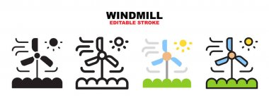 Windmill icon set with different styles. Icons designed in filled, outline, flat, glyph and line colored. Editable stroke and pixel perfect. Can be used for web, mobile, ui and more. icon
