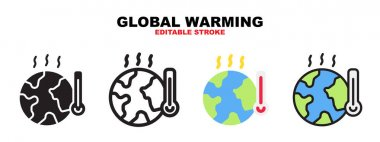 Global Warming icon set with different styles. Icons designed in filled, outline, flat, glyph and line colored. Editable stroke and pixel perfect. Can be used for web, mobile, ui and more. icon
