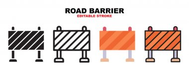 Road Barrier icon set with different styles. Icons designed in filled, outline, flat, glyph and line colored. Editable stroke and pixel perfect. Can be used for web, mobile, ui and more. icon
