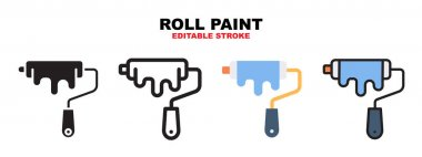 Roll Paint icon set with different styles. Icons designed in filled, outline, flat, glyph and line colored. Editable stroke and pixel perfect. Can be used for web, mobile, ui and more. icon