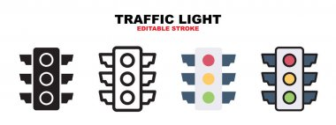 Traffic Light icon set with different styles. Icons designed in filled, outline, flat, glyph and line colored. Editable stroke and pixel perfect. Can be used for web, mobile, ui and more. icon