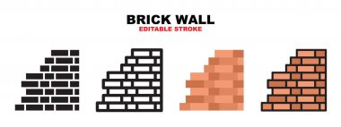 Brick Wall icon set with different styles. Icons designed in filled, outline, flat, glyph and line colored. Editable stroke and pixel perfect. Can be used for web, mobile, ui and more. icon