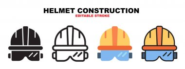 Helmet Construction icon set with different styles. Icons designed in filled, outline, flat, glyph and line colored. Editable stroke and pixel perfect. Can be used for web, mobile, ui and more. icon