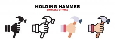 Holding Hammer icon set with different styles. Icons designed in filled, outline, flat, glyph and line colored. Editable stroke and pixel perfect. Can be used for web, mobile, ui and more. icon