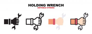 Holding Wrench icon set with different styles. Icons designed in filled, outline, flat, glyph and line colored. Editable stroke and pixel perfect. Can be used for web, mobile, ui and more. icon