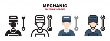 Mechanic icon set with different styles. Icons designed in filled, outline, flat, glyph and line colored. Editable stroke and pixel perfect. Can be used for web, mobile, ui and more. icon